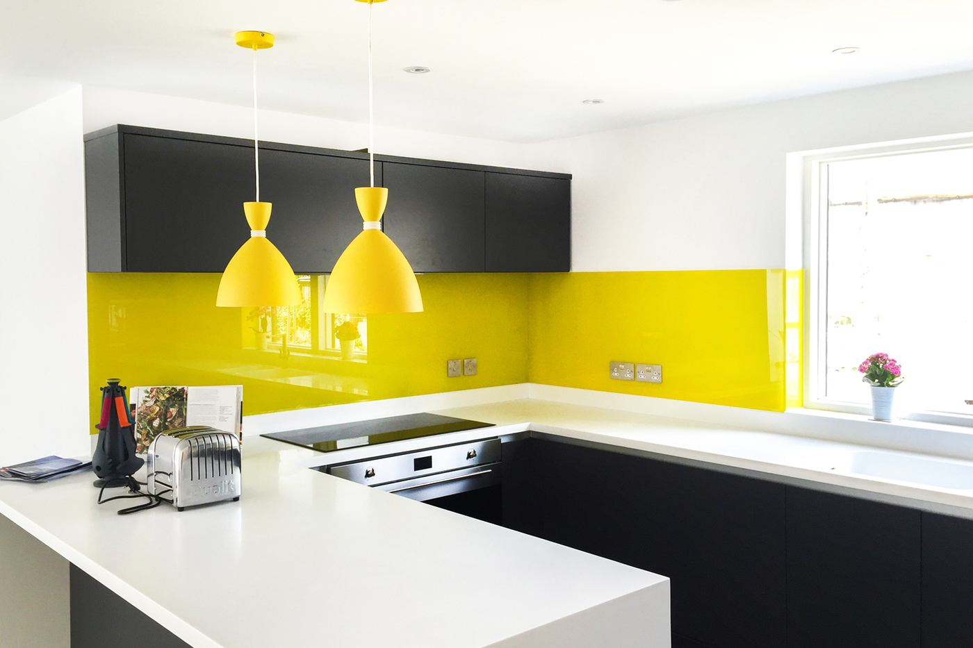 tile a splashback in kitchen- yellow painted