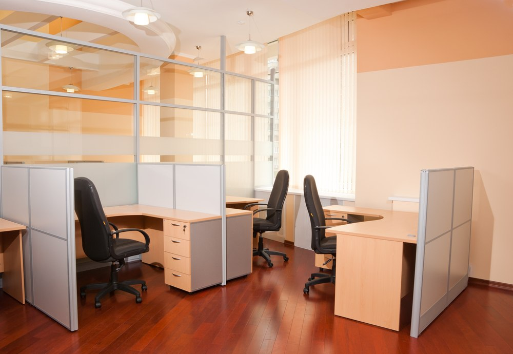 glass partition in a modern office